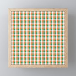 Orange White and Green Irish Gingham Check Plaid Framed Mini Art Print