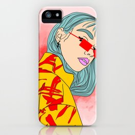 CUZ IM KOOL LIKE DAT - Cool Asian Female with Blue Hair Digital Drawing iPhone Case