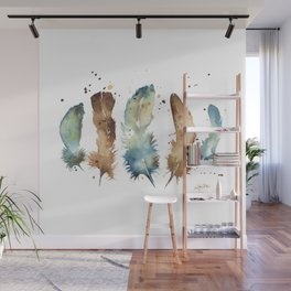 Watercolor Feathers Wall Mural