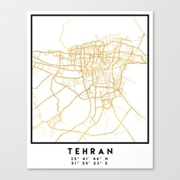 TEHRAN IRAN CITY STREET MAP ART Canvas Print
