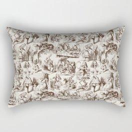 Alice in Wonderland | Toile de Jouy | Brown and Beige Rectangular Pillow