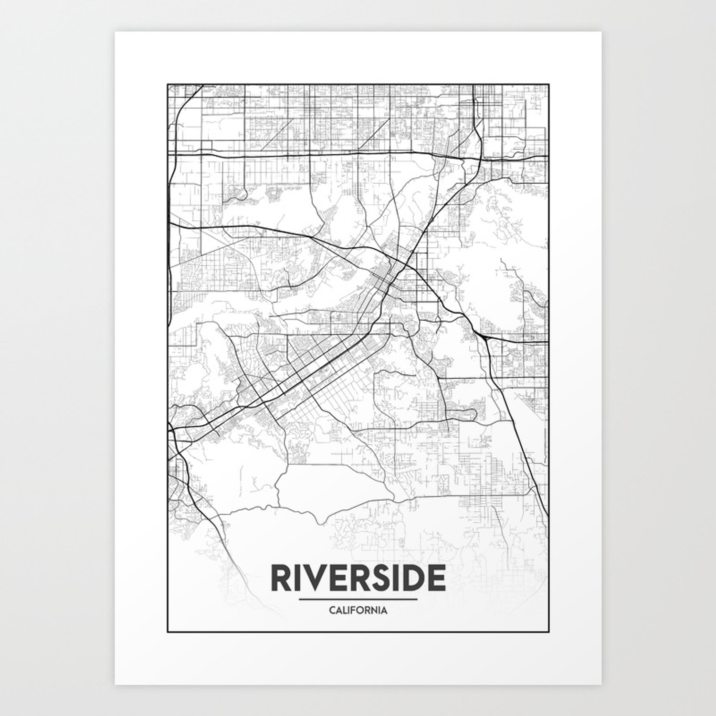Minimal City Maps - Map Of Riverside, California, United States Art Print