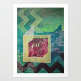 Geometric green Art Print