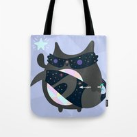 racoon Tote Bags featuring Racoon Wizard by Crowded Teeth