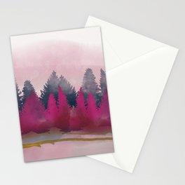 snow winter frozen forest Stationery Cards