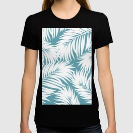 Palm Tree Fronds White on Soft Blue Hawaii Tropical Décor T-shirt