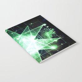 Sacred Geometry Green Midnight Blue Galaxy Notebook