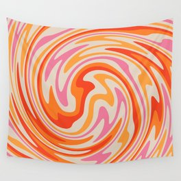 70s Retro Swirl Color Abstract Wall Tapestry