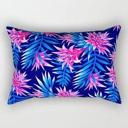 Aechmea Fasciata - Mid Blue/Pink Rectangular Pillow