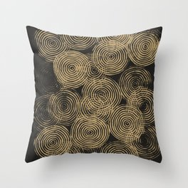Radial Block Print in Charcoal and Gold Throw Pillow