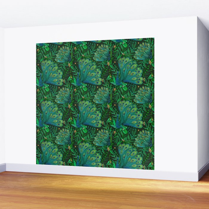 Peacocks in Emerald Forest Wall Mural