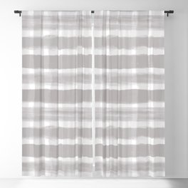 Slate Violet Gray SW9155 Watercolor Brushstroke Plaid Pattern on White Blackout Curtain