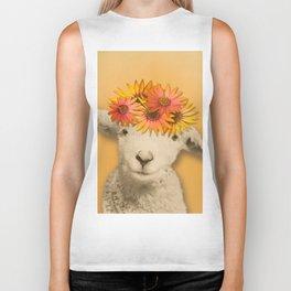 Daisies Sheep Girl Portrait, Mustard Yellow Texturized Background Biker Tank