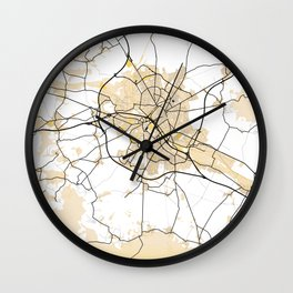 Reims Yellow City Map Wall Clock