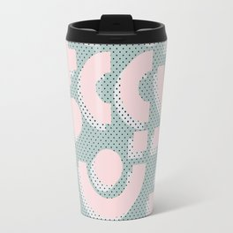 Memphis Pattern - Gemetrical  Retro Art in Pink and Mint -  Mix & Match With Simplicity Of Life Travel Mug