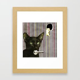Hekate greek goddess cat keeper of the key handcut collage Framed Art Print