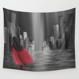 Girl With A Red Cape Wall Tapestry