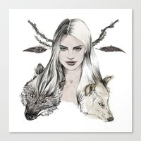 wolves Canvas Prints featuring Wolves by Clunaillustration