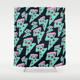 Thunder Neon Pizza Shower Curtain