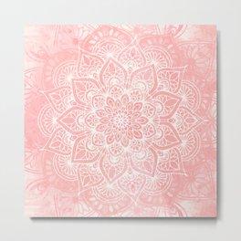 🤍, Mandala, Yoga Love, Coral, Wall Art Boho Metal Print