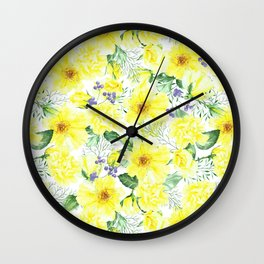 watercolor pattern yellow roses Wall Clock