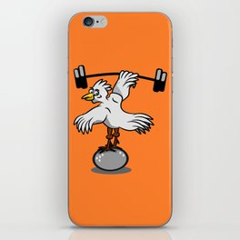 Chicken lifting weights iPhone Skin