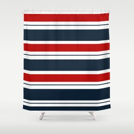 Red, White, and Blue Horizontal Striped Shower Curtain