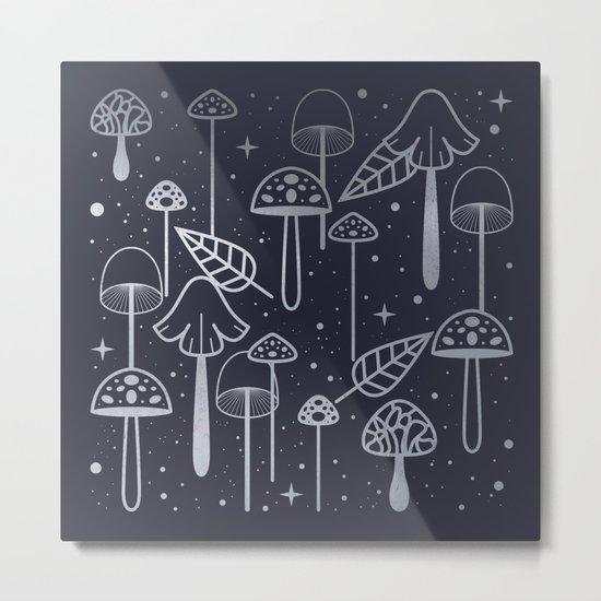 Silver Mushrooms Metal Print