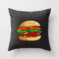 burger Throw Pillows featuring Burger by YusufSangdes