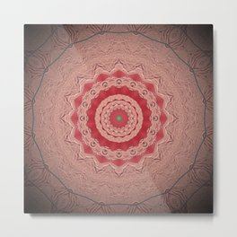 Blush Pink Textured Flower Mandala Metal Print