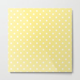 Buttermilk Yellow with White Polka Dots Metal Print