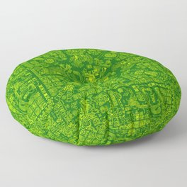 Mayan Spring GREEN / Ancient Mayan hieroglyphics mandala pattern Floor Pillow
