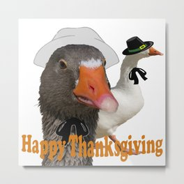 Happy Thanksgiving Pilgrims Metal Print