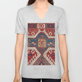 White Hooked Cartouche // 19th Century Authentic Colorful Southwestern Shape Accent Pattern Unisex V-Neck