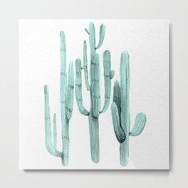 Cactus Trio Turquoise by Nature Magick Metal Print