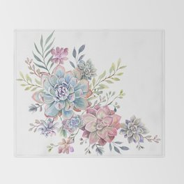 succulent watercolor 6 Throw Blanket