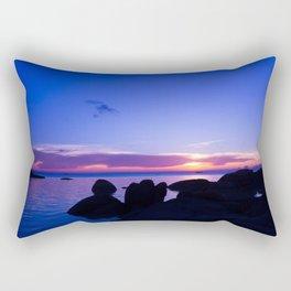 Blue sunset by rock beach Rectangular Pillow
