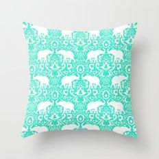 Elephant Damask Mint Throw Pillow