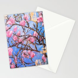 PINK MAGNOLIA - Original floral painting by HSIN LIN / HSIN LIN ART Stationery Cards