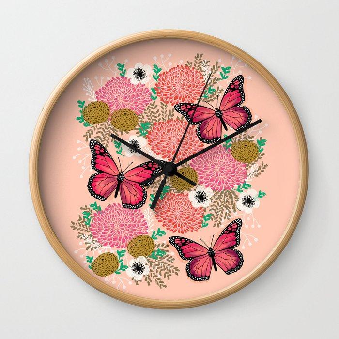 Monarch Florals by Andrea Lauren  Wall Clock