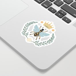 Queen Bee with Gold Crown and Laurel Frame Sticker