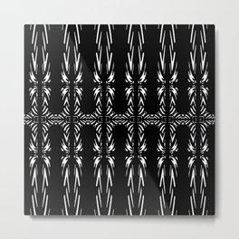 Geometric Black and White Tribal-Inspired Pattern Metal Print