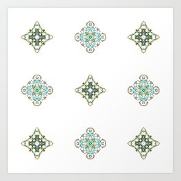 Turquoise With A Tough Of Gold Pattern Art Print