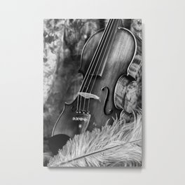 Violin and feather Metal Print