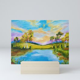 Sunset by the Lake Mini Art Print