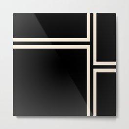Strong Deco - Geometric Minimalism in Almond Cream and Black Metal Print