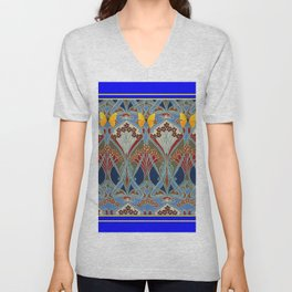 Ornate blue & Yellow Art Nouveau Butterfly Red Designs Unisex V-Neck