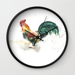 Symbol of the year, watercolor rooster, cock, cockerel Wall Clock