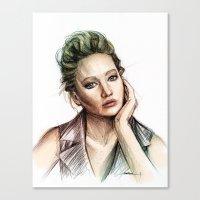 jennifer lawrence Canvas Prints featuring Jennifer Lawrence by Creadoorm