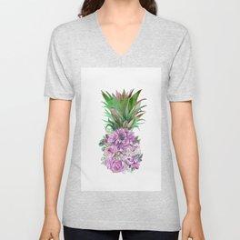 Floral Pineapple 1 Unisex V-Neck